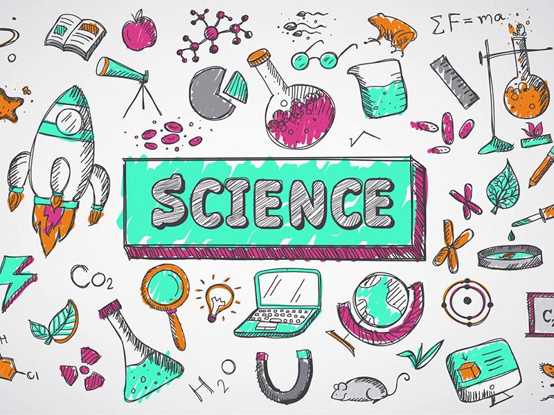 une image graphique avec les mots science au milieu entourée de graphiques de tubes à essai de vaisseaux spatiaux et d'autres éléments scientifiques